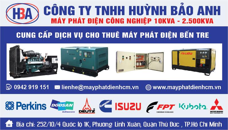 Dịch vụ cho thuê máy phát điện tại Bến Tre và các tỉnh thành lân cận
