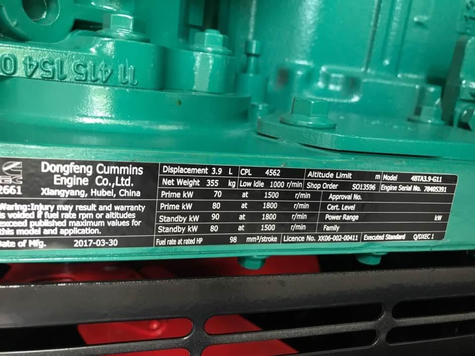 Cung cấp lắp đặt máy phát điện cummins model C82D5 cho công ty Quốc Phong Khánh Hoà